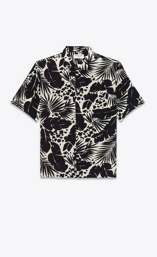 shark-collar shirt in tropical silk crepe de chine
