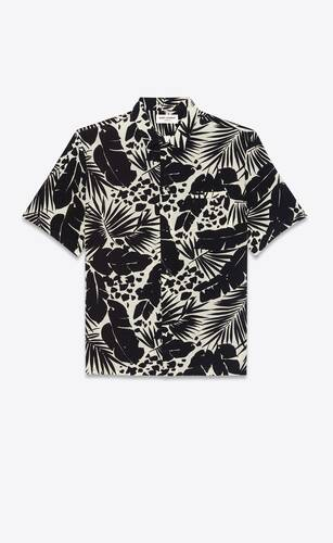 shark-collar shirt in tropical silk crepe de chine