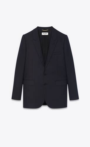veste à boutonnage simple en sergé de laine