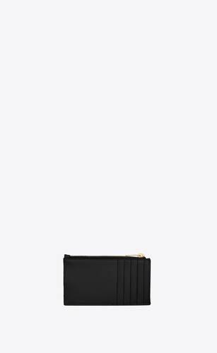 porta carte monogram fragments con zip in pelle goffrata grain de poudre