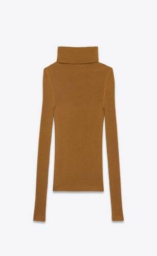 캐시미어와 울, 실크 소재의 립 터틀넥 스웨터