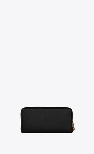 tiny monogram zip-around wallet in grained leather