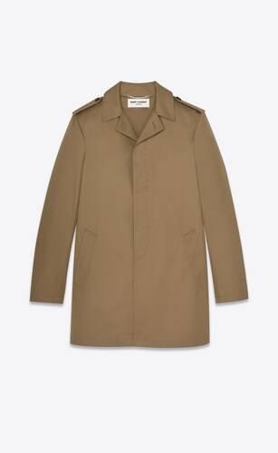 buttoned rain coat