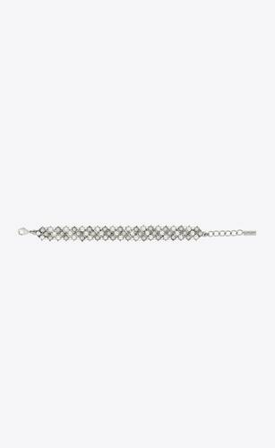 crystal knitted bracelet in metal and pearls