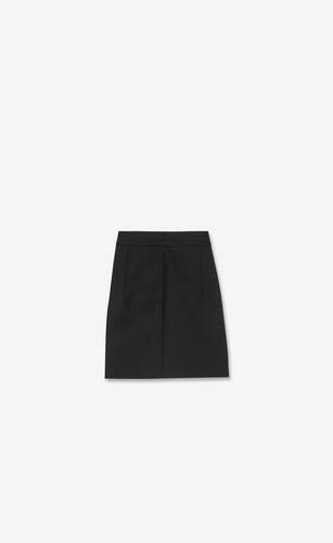 pleated mini shorts in wool  gabardine