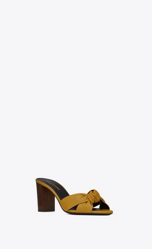 bianca mules in smooth leather and wood