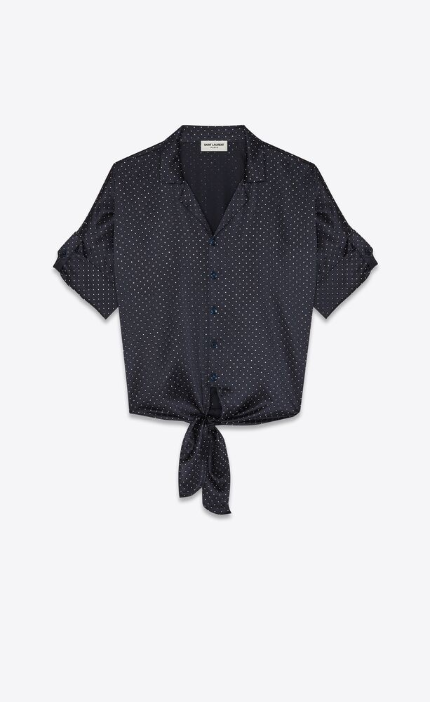 tie-up shark-collar shirt in studded silk satin
