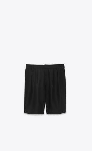 pleated chino bermuda shorts in linen and cotton