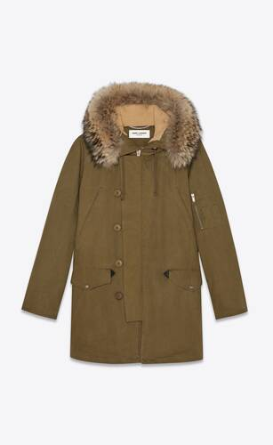 oversized parka in cotton gabardine and raccoon fur