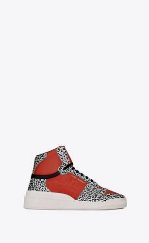 sl24 sneakers mi-hautes en cuir à imprimé babycat