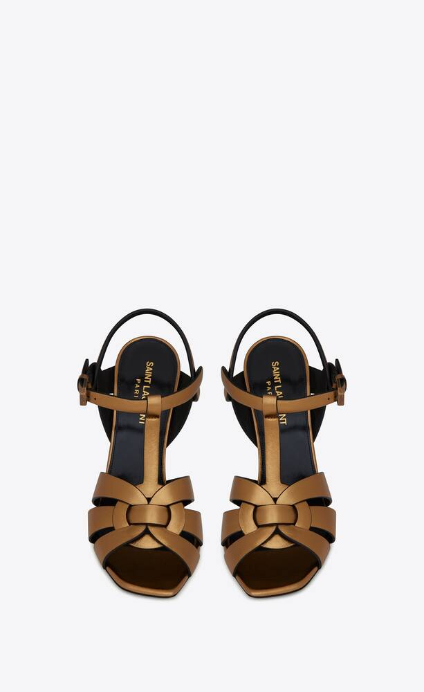 tribute sandals in metallic smooth leather
