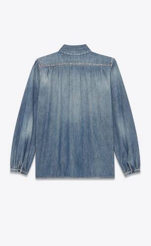 lavallière-neck blouse in dirty vintage blue denim