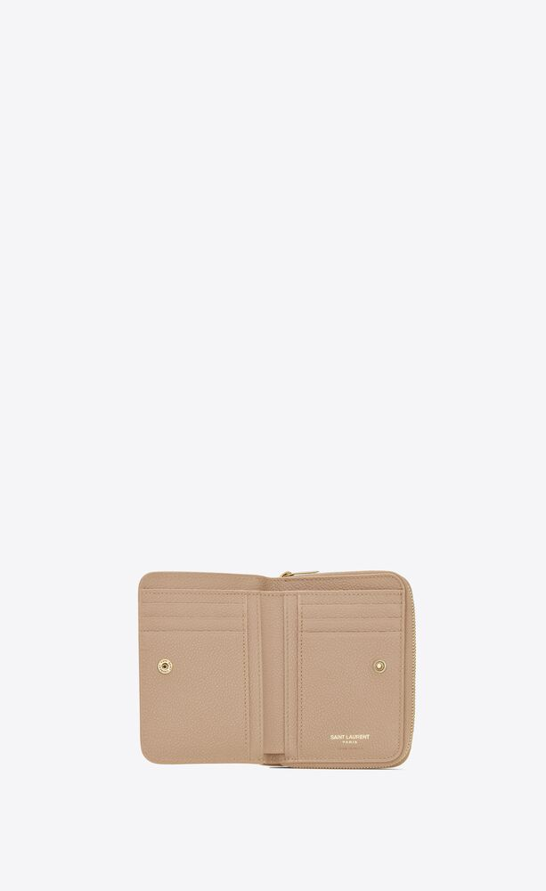 ysl line compact zip wallet in grained leather