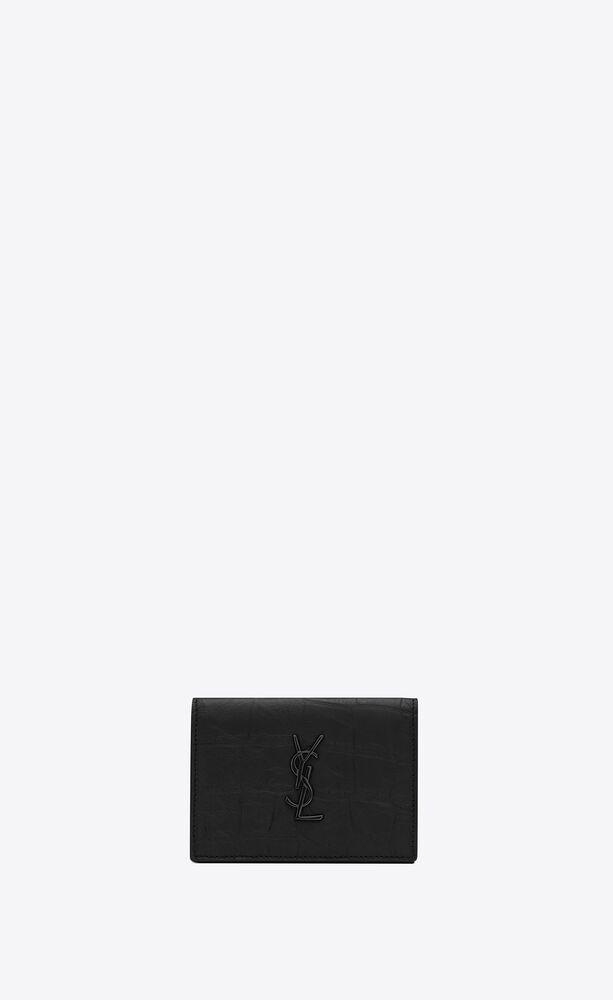 monogram card case in crocodile embossed leather