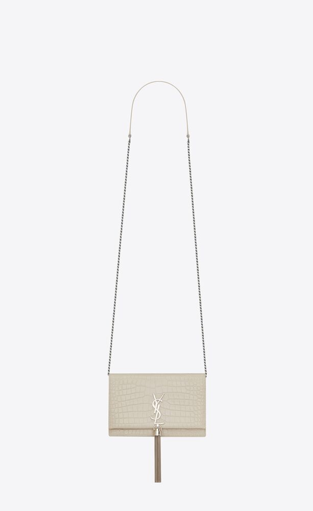 kate chain wallet with leather tassel in crocodile-embossed leather