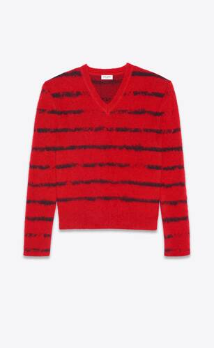 fitted sweater in brushed interrupted stripe