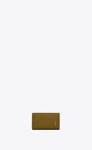 tiny monogram key case in grained calfskin