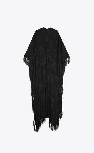 oversized fringed caftan in silk palm jacquard