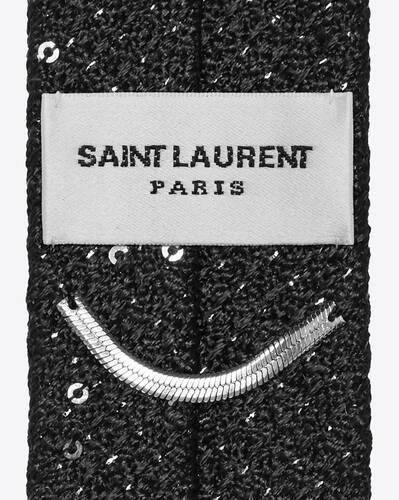 schmale krawatte aus lamé-seidenjacquard mit aufgestickten pailletten