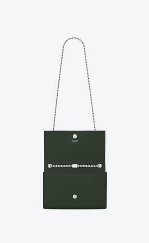mittlere kate chain bag aus dunkelgrünem strukturleder