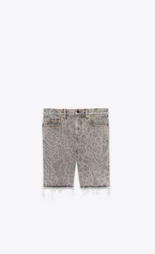 raw-edge shorts in leopard-print denim