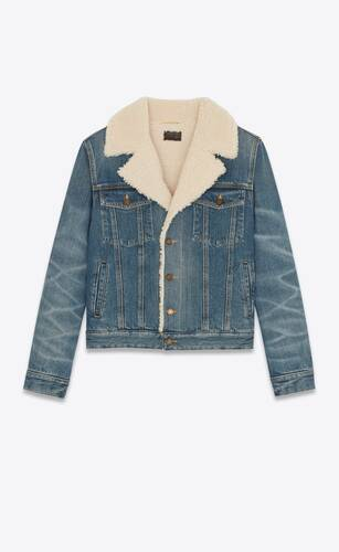 jacket in dark ice blue denim and shearling