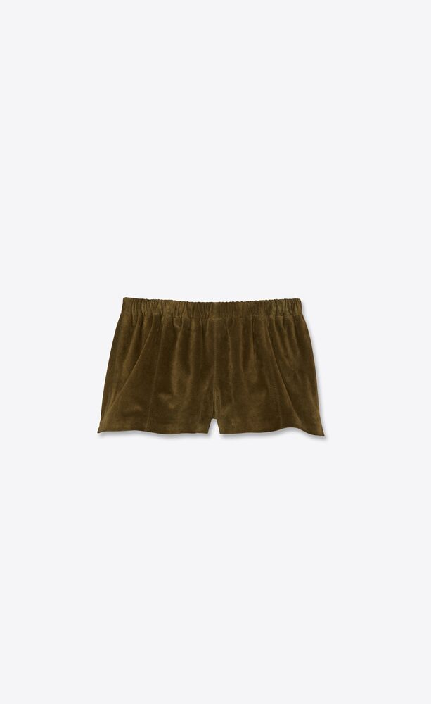 mini shorts in vintage suede and lizard skin