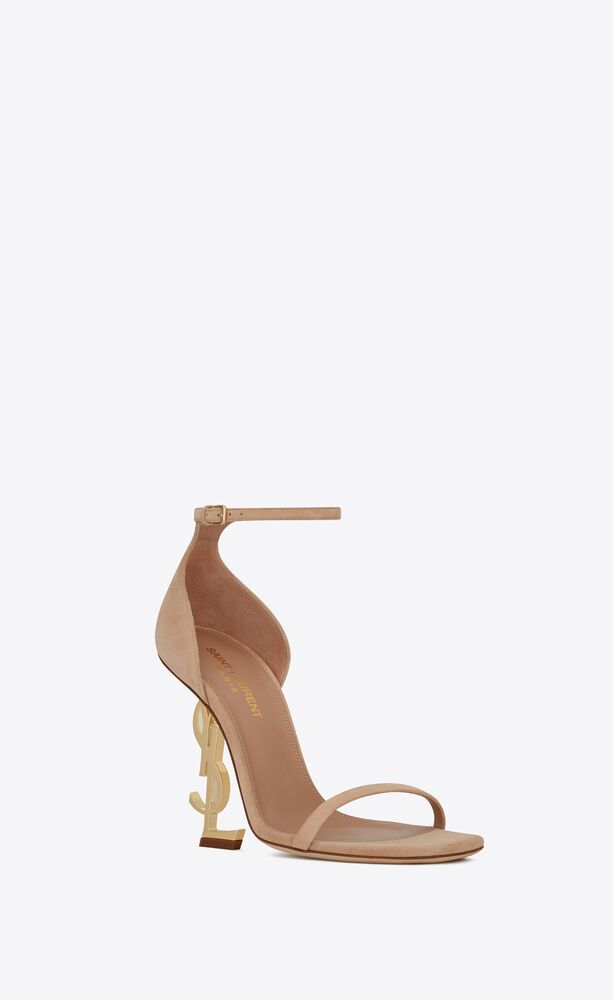 opyum sandals in suede with pale gold-tone heel