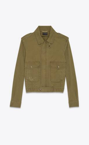 aviator jacket in cotton gabardine