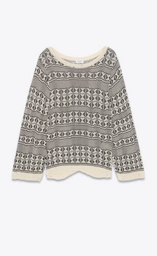destroyed oversized sweater in graphic jacquard