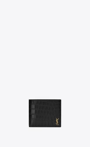 tiny monogram east/west wallet in crocodile embossed matte leather