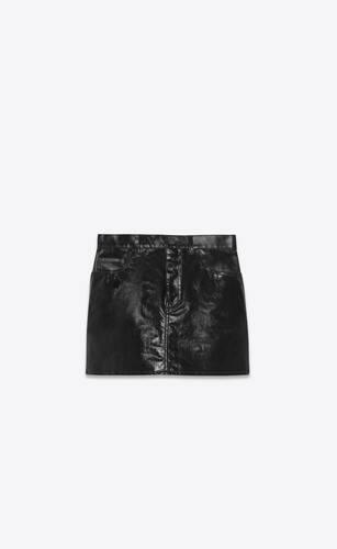 mini skirt in black vinyl denim
