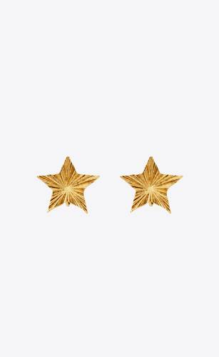pendientes de clip stars & love en forma de estrella de metal