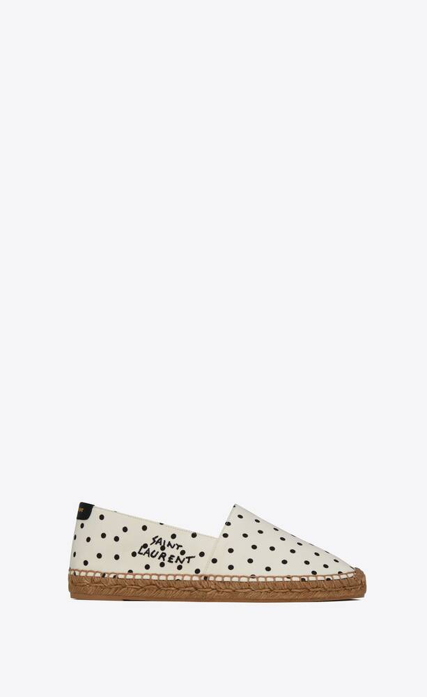 saint laurent embroidered espadrilles in dotted canvas and leather