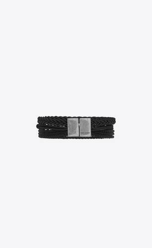 braided leather and curb-chain bracelet