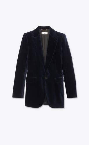 chaqueta con botonadura simple de terciopelo