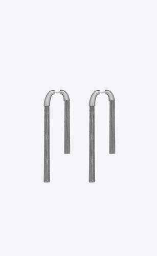 boucles d'oreilles à pompons asymétriques en métal