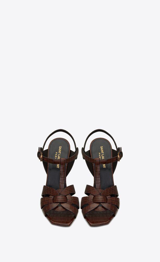 tribute sandales en cuir brillant embossé crocodile