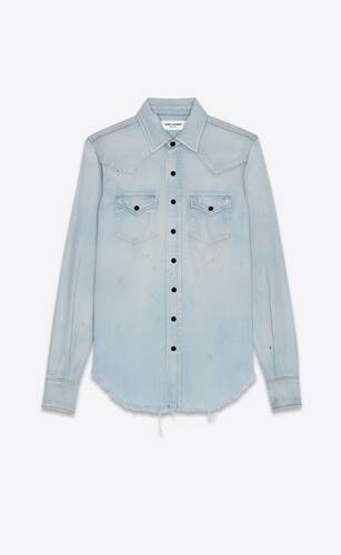 distressed western shirt in dirty sky blue denim