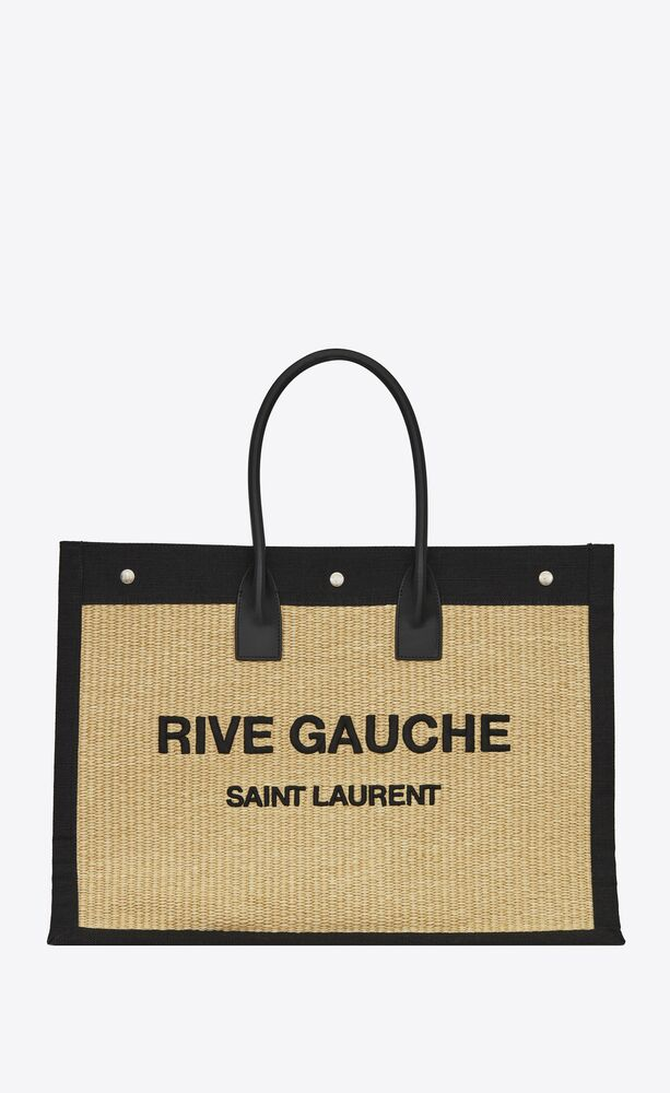 rive gauche tote bag in embroidered raffia and leather