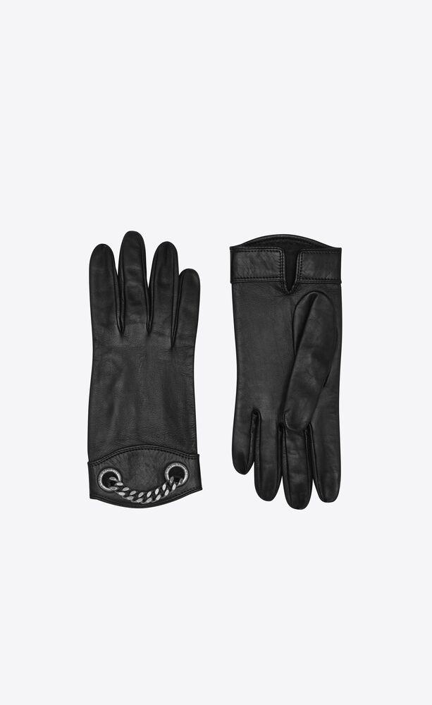 guanti in pelle con finitura in metallo