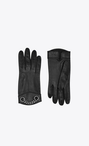 gloves in leather and metal