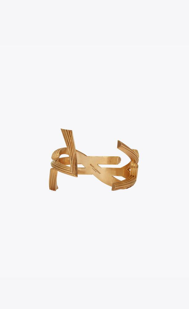 monogram cuff bracelet in striated brass