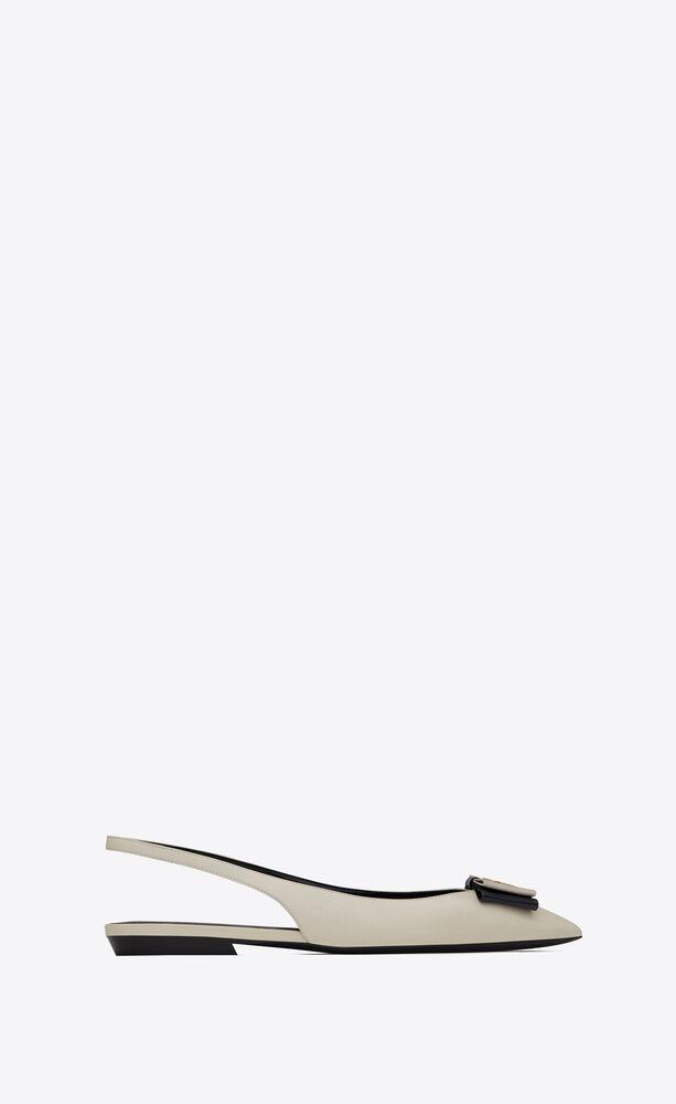 décolleté aperte sul retro flat anaïs con fiocco in pelle liscia e verniciata