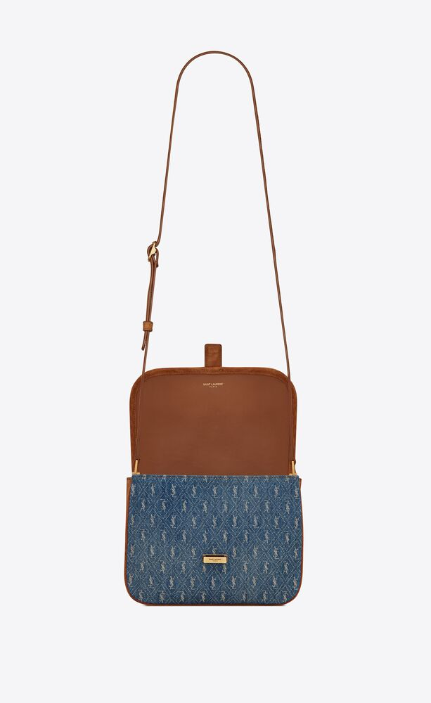 le monogramme camera bag in denim and suede