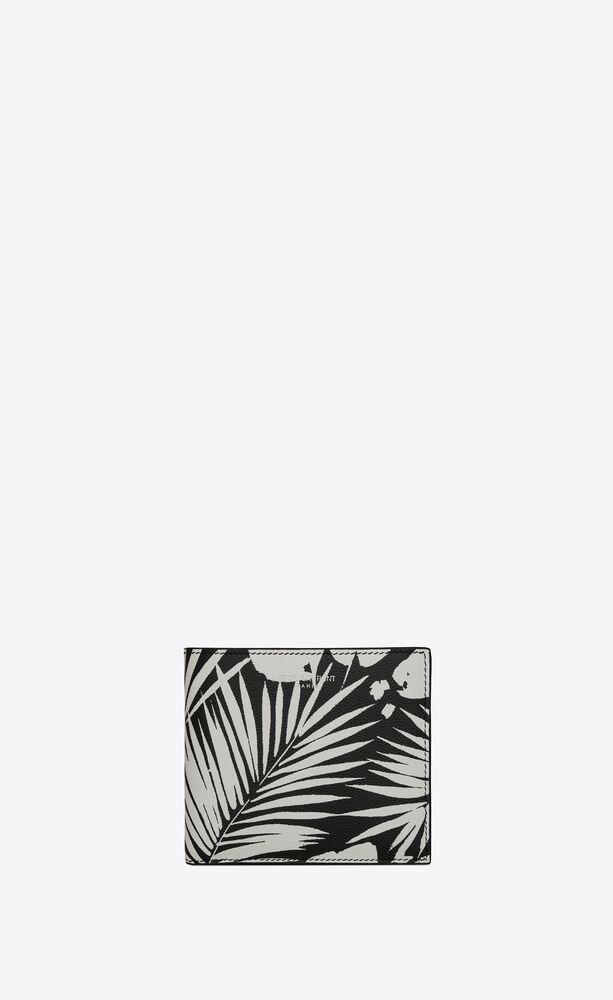 east/west wallet in tropical-print grain de poudre embossed leather