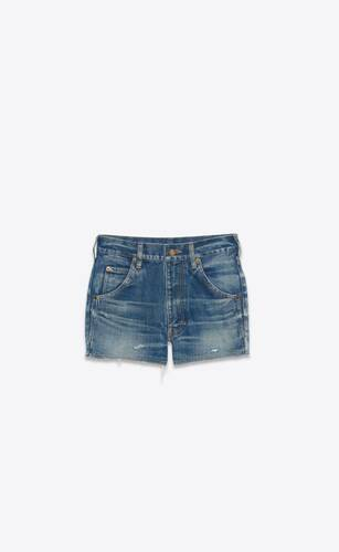destroyed shorts in dirty fall blue denim