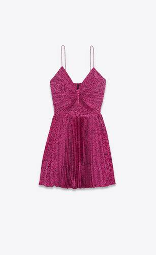 pleated sun dress in memphis silk crepe de chine