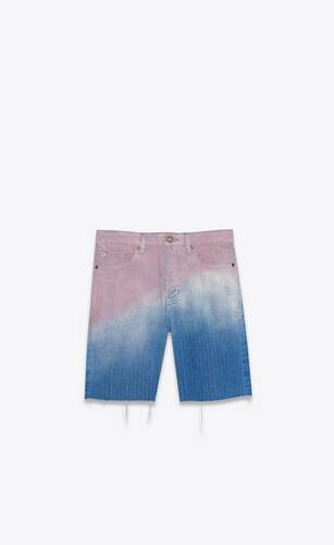 raw-edge shorts in blue and pink dégradé denim