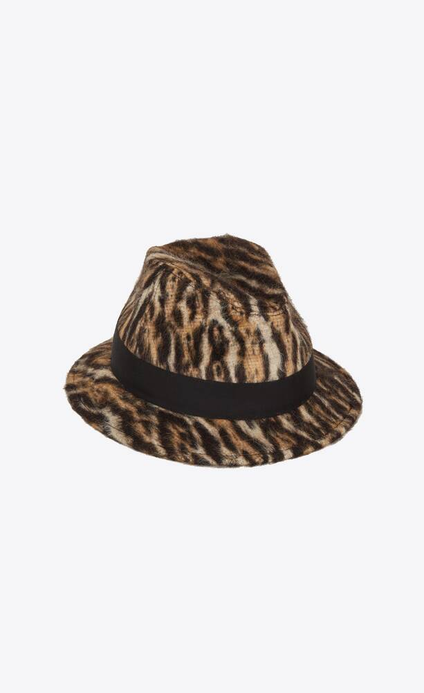 fedora hat in ocelot-print brushed wool and alpaca felt